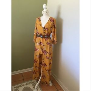 Maxi Dress Romper with Shorts Floral New with Tags